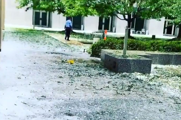 Hail thrashes Parliament House as severe storm heads for Sydney
