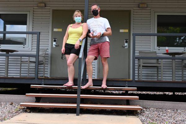 Vicki Presland and Chris Peck outside their quarantine cabins