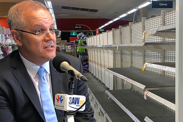PM urges Australians to 'get on with our lives' as supermarkets forced to limit sales