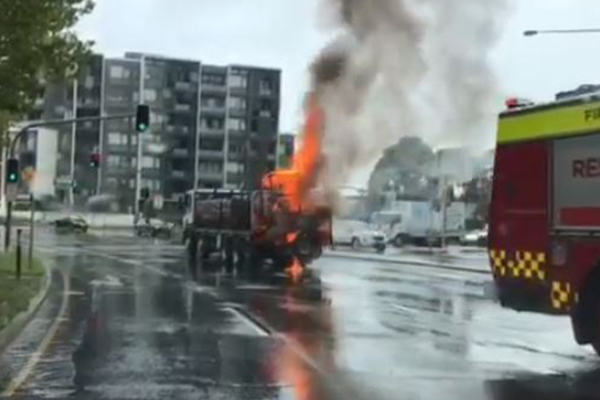 Article image for WATCH | Truck catches fire on NSW highway