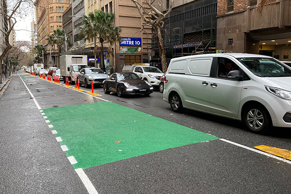 Article image for Traffic worsens as City of Sydney creates dedicated bike lane