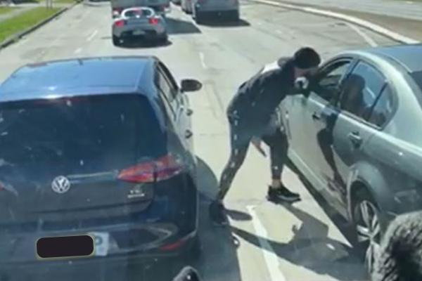 Caught on camera: Weapon wielding man terrorises motorist