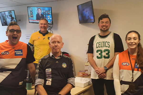 The 2GB Drive team dresses up in support of Jersey Day