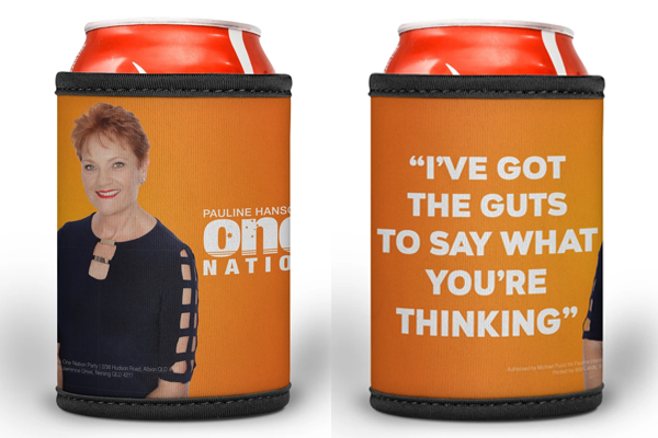 Article image for Pauline Hanson stubby holders instigate fury over AusPost double standard