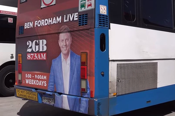 The bizarre mix-up impacting Ben Fordham bus posters