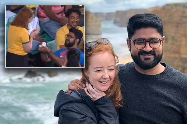 Happy couple reject critics of 'entirely romantic' SCG marriage proposal