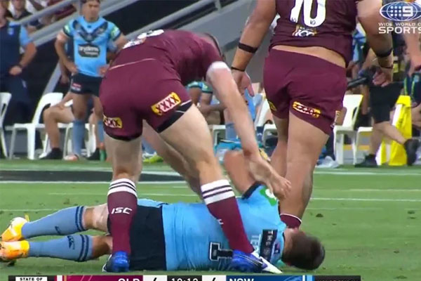 Article image for 'I'm not a grub': Jai Arrow apologises after shoving concussed James Tedesco