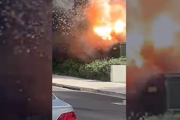 Article image for Power box explosion captured on camera in Sydney's inner west