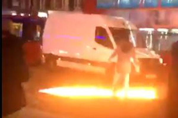 London chaos: Man allegedly crashes into police station, sets liquid alight