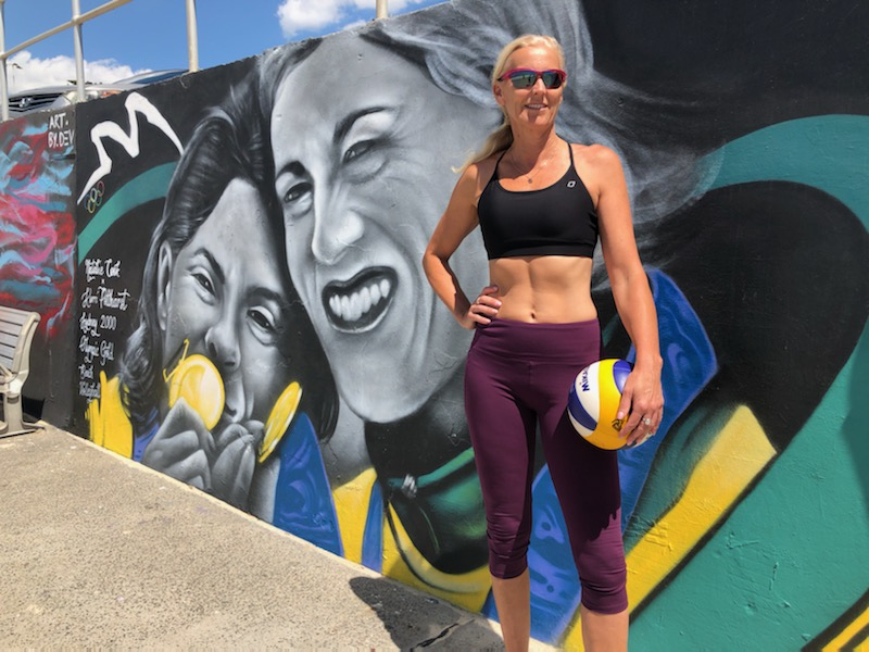 Article image for Beach volleyball victory immortalised as Olympians look to 'give back'