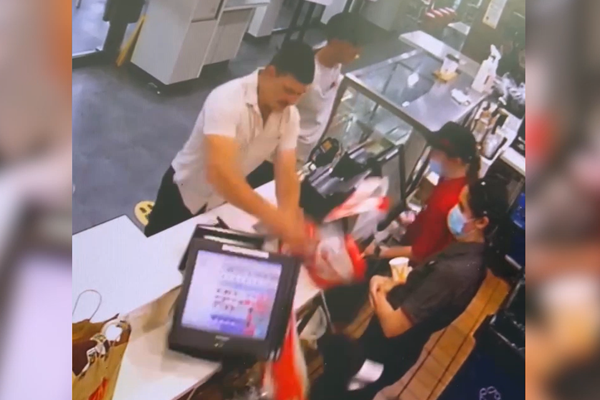 WATCH | Fast food workers terrorised by customer's destructive tirade