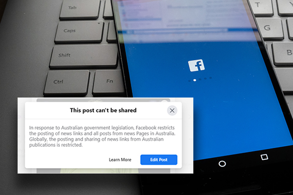 Article image for Communications Minister refuses to back down as Facebook blocks news content in Australia
