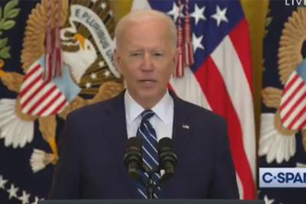Article image for WATCH | 'Sleepy Joe' slips up during first press conference as president