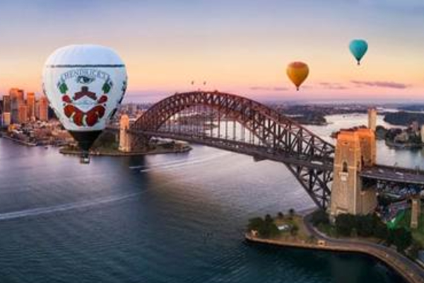 The hot air balloon voyage reaching for the sky