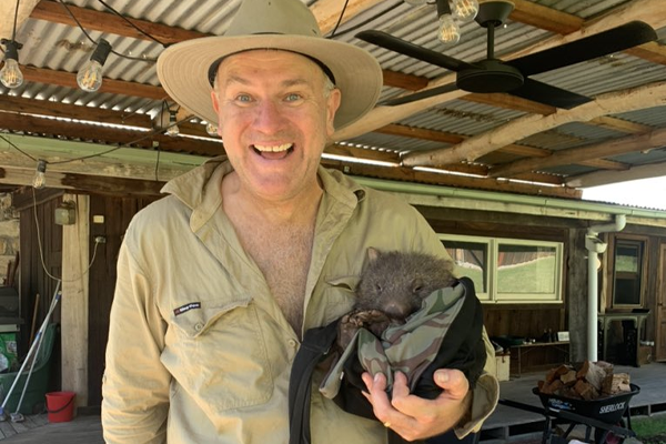 Jim Wilson to the rescue of adorable baby wombat