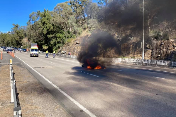 Article image for Motorcyclist's remarkable escape as bike explodes into flames