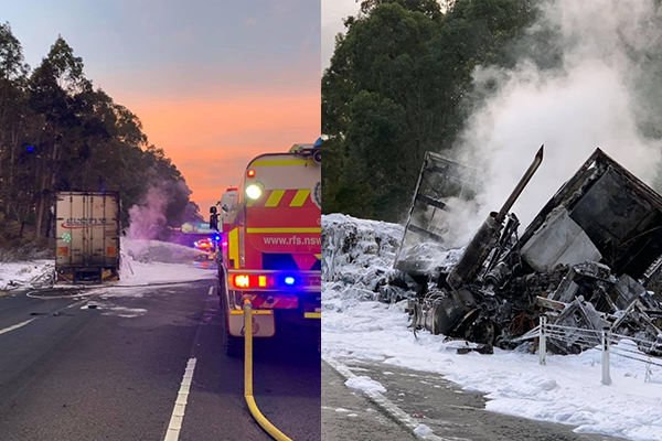 Article image for Firefighters share extraordinary photos in aftermath of M1 multi-truck crash