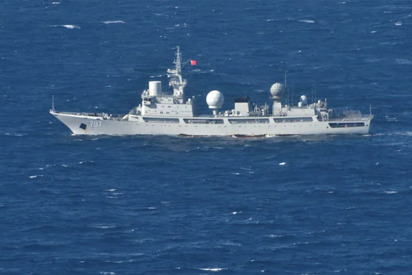 'Unfriendly' Chinese spy ship floating off Queensland coast