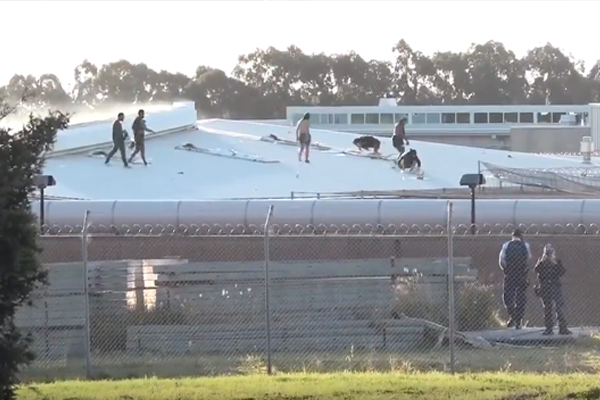 Inmates on the roof at Parklea Correctional Centre