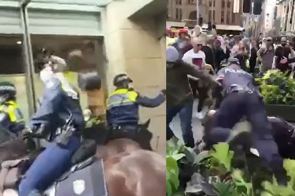 Article image for WATCH | 'Freedom' protesters assault police, hurl projectiles