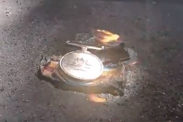 Police come knocking: Veteran questioned amid burning of service medal