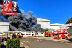 Firefighters struggle to find water to battle Moorebank factory blaze