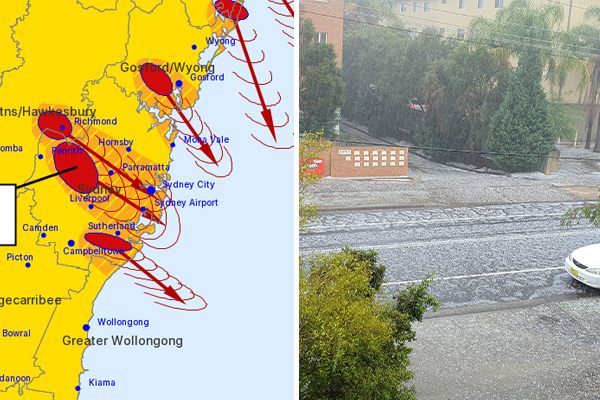 Article image for Suspected tornado bears down as hail batters Sydney's west